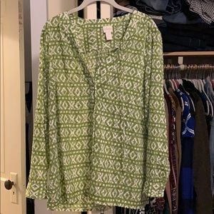 Chico's size 2 like green and white blouse